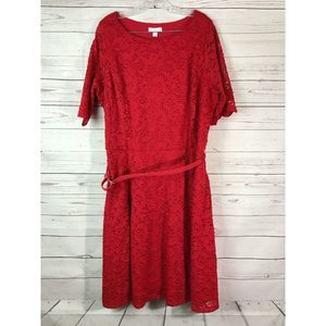 Charter Club Plus 2X Red Lace Dress